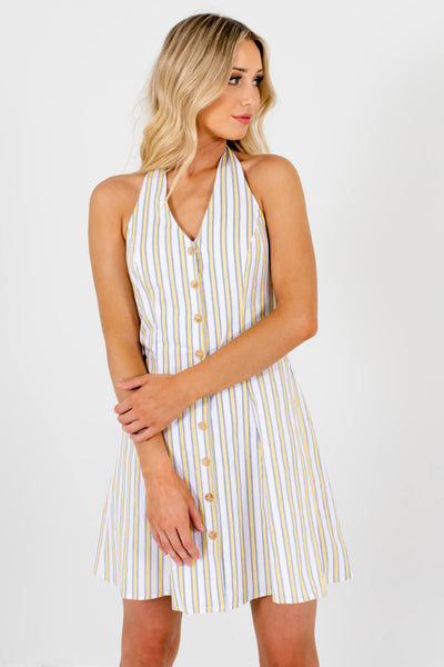 White Striped Fully Lined Boutique Mini Dresses for Women