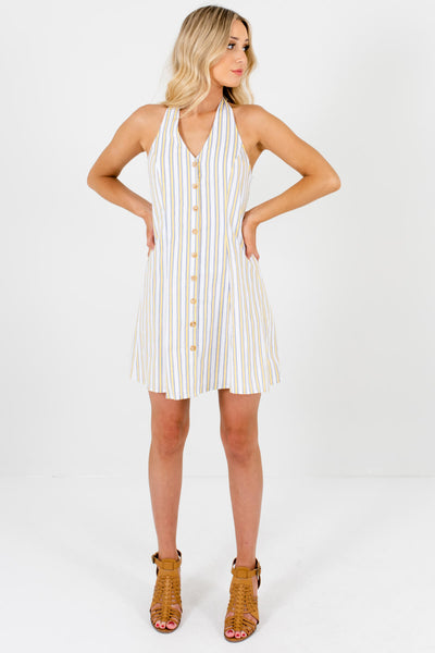 White Striped Cute and Comfortable Boutique Mini Dresses for Women