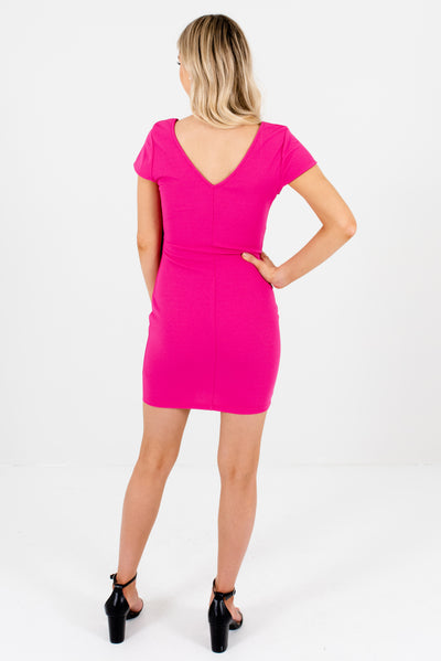 Women's Fuchsia Pink Semi-Stretchy Textured Boutique Mini Dress