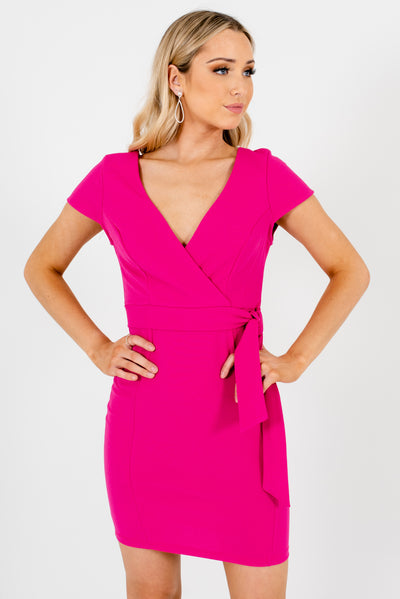 Fuchsia Pink Faux Wrap Style Boutique Mini Dresses for Women