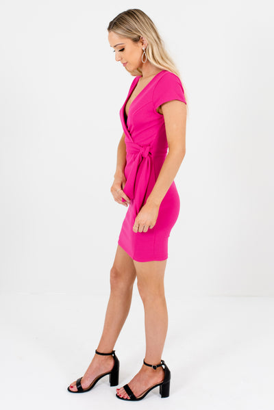 Fuchsia Pink Front and Back V-Neckline Boutique Mini Dress