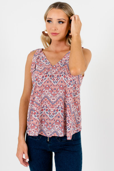 Red Patterned Cute and Comfortable Boutique Tank Tops for Women