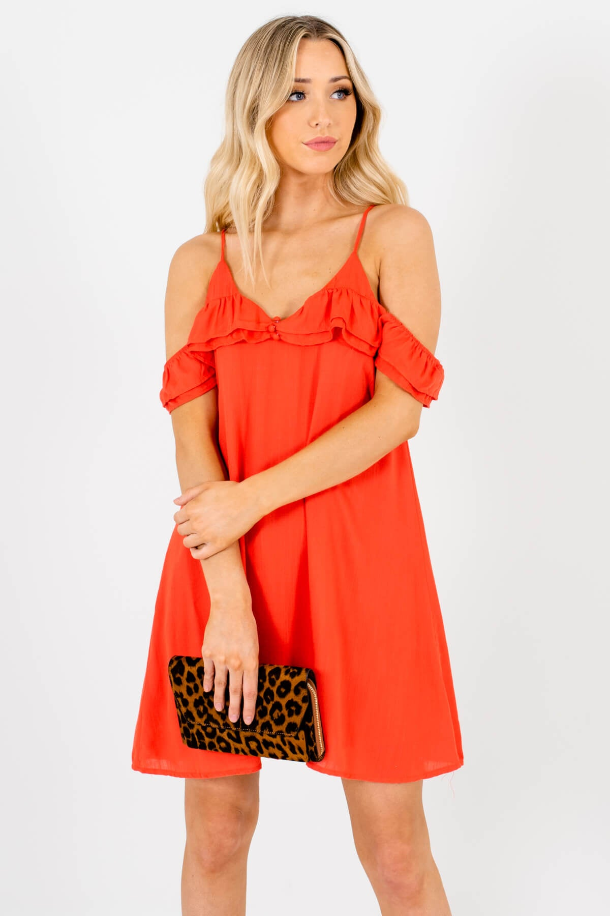 Orange Red Cold Shoulder Style Boutique Mini Dresses for Women