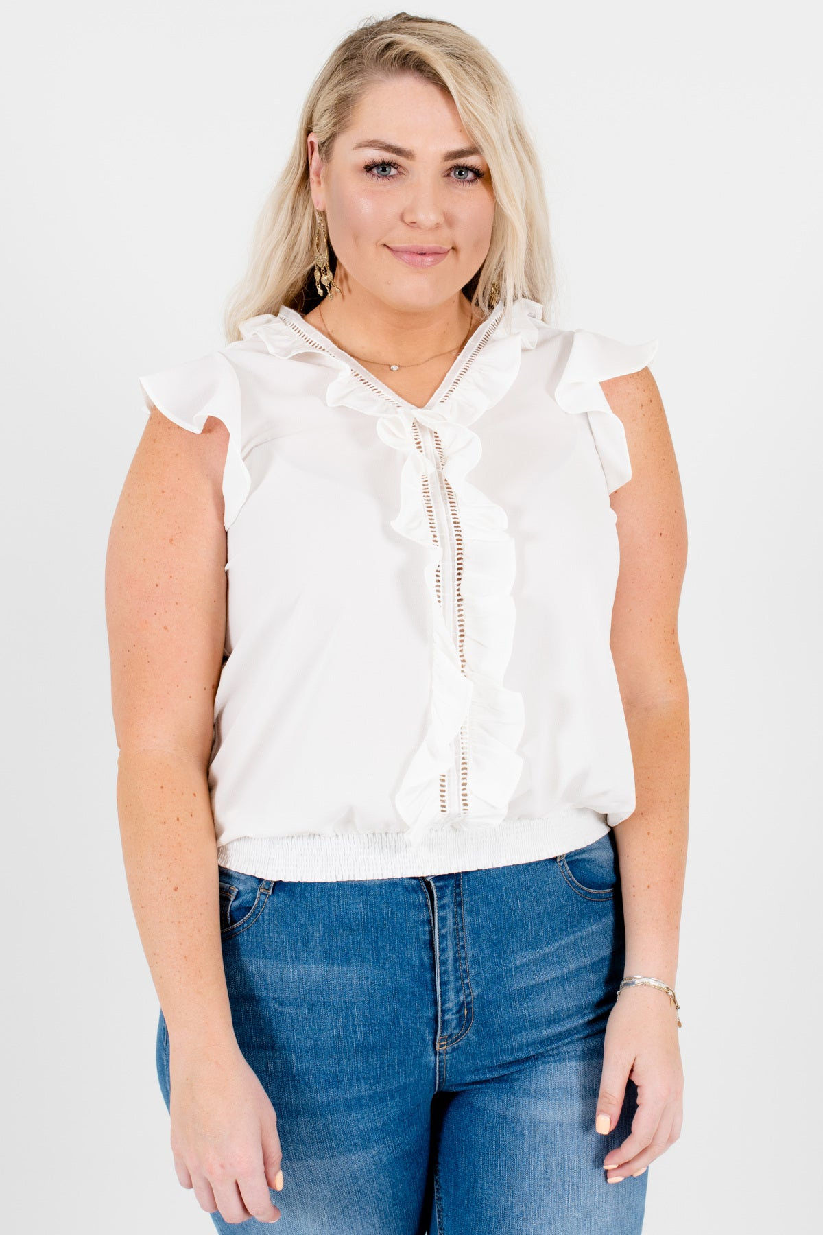 White Plus Size Ruffle Ladder Lace Tops and Blouses Boutique
