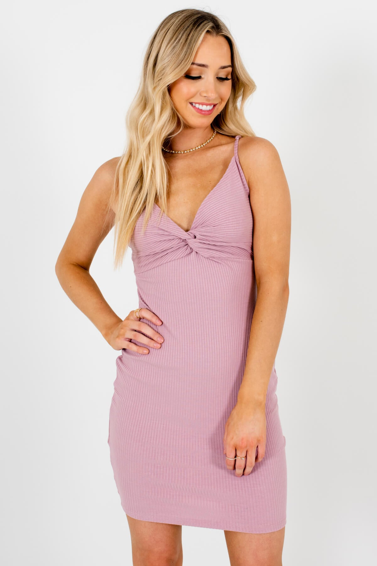 Purple-Pink Hugging Fit Body con Style Boutique Mini Dresses for Women