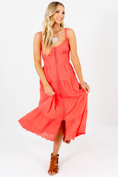 Coral Embroidered Eyelet Crochet Midi Dresses with Hook and Eye Closure