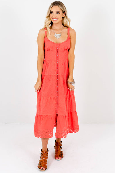 Coral Crochet Eyelet Embroidered Midi Dresses for Women