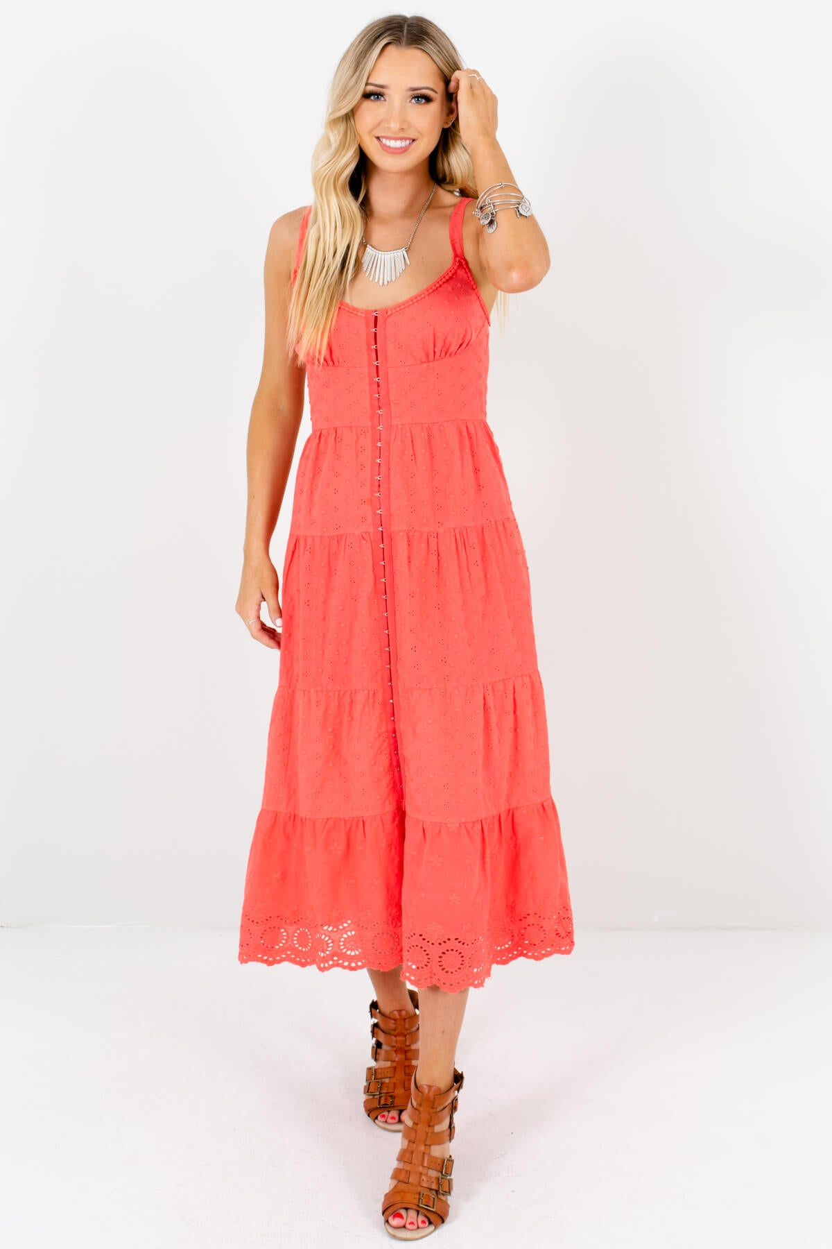 Coral Eyelet Embroidered Crochet Midi Dresses Affordable Online Boutique