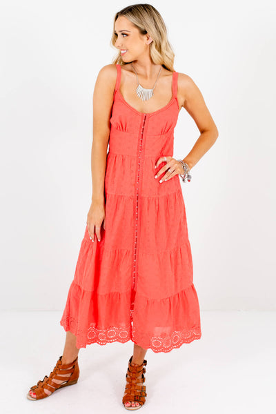Coral Eyelet Embroidered Crochet Midi Dresses with Hook-and-Eye Front Closure