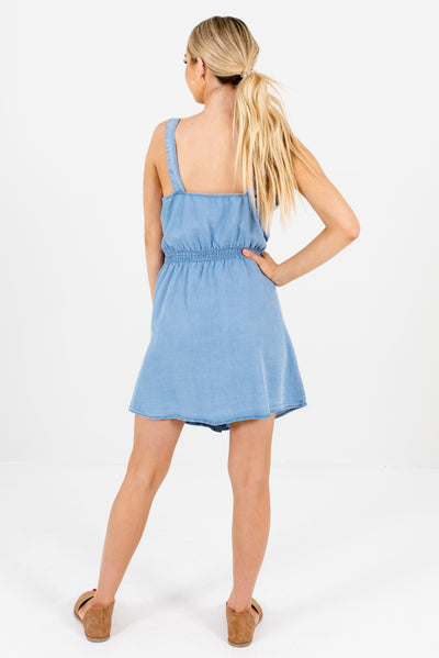 Women's Light Blue Button-Up Front Boutique Mini Dress