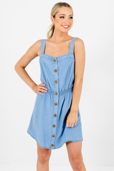 Light Blue High-Quality Chambray Material Boutique Mini Dresses for Women
