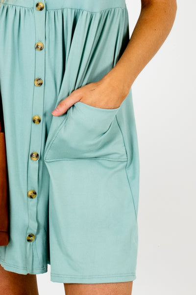 Blue Green Boutique Button Up Mini Dresses with Pockets
