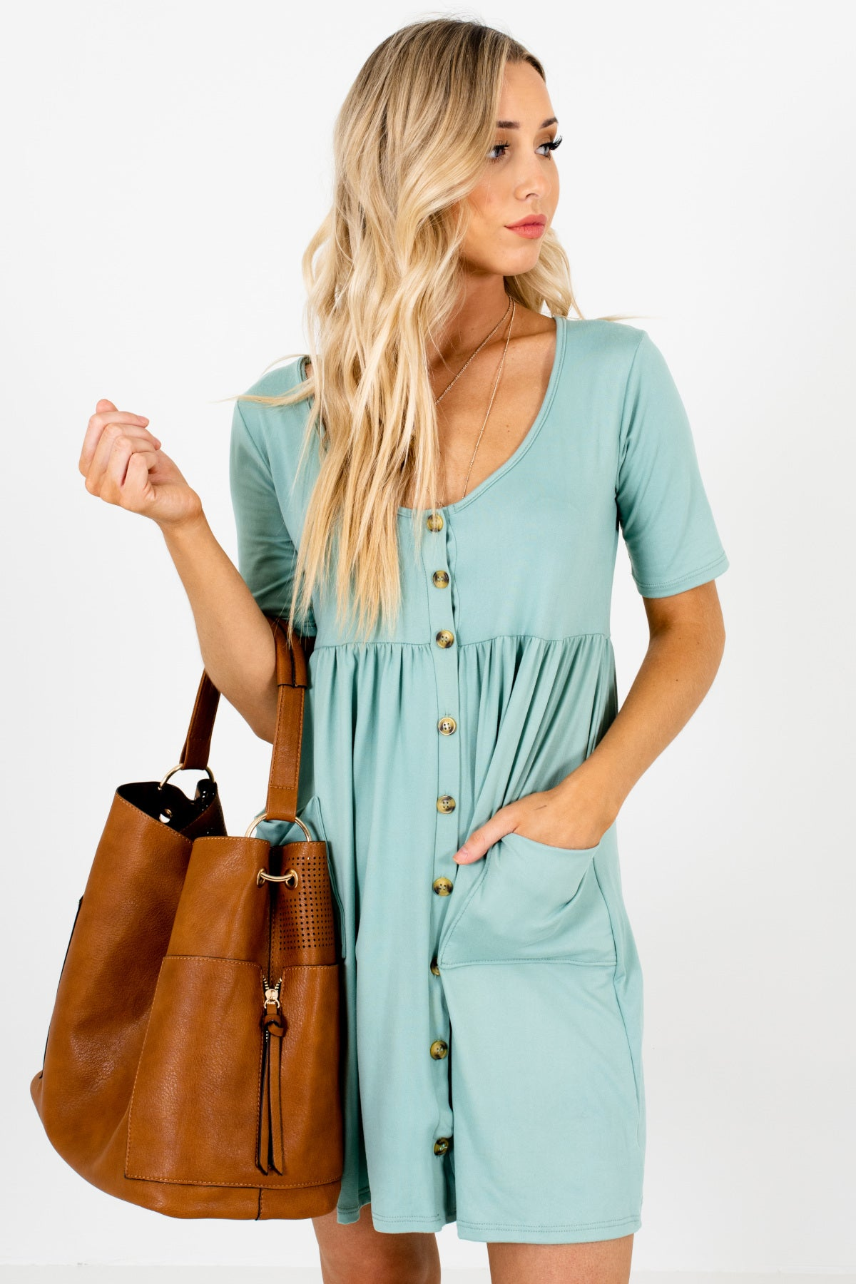 Blue Button Up Mini Dresses Affordable Online Boutique