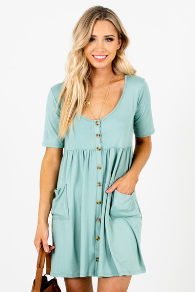 Blue Green Soft Stretchy Smock Mini Dresses with Button Up Front and Pockets