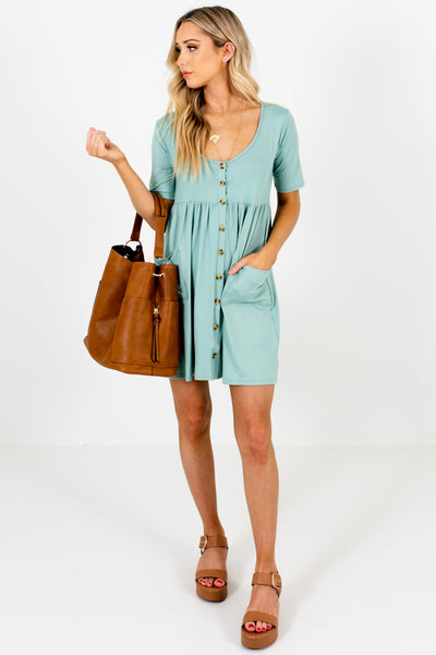 Turquoise Blue Affordable Online Boutique Button Up Mini Dresses