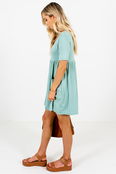 Blue Green Button Up Mini Dresses with Pockets for Women