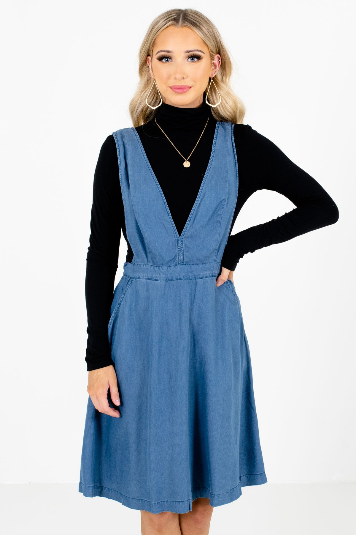 Blue Pinafore Style Boutique Knee-Length Dresses for Women