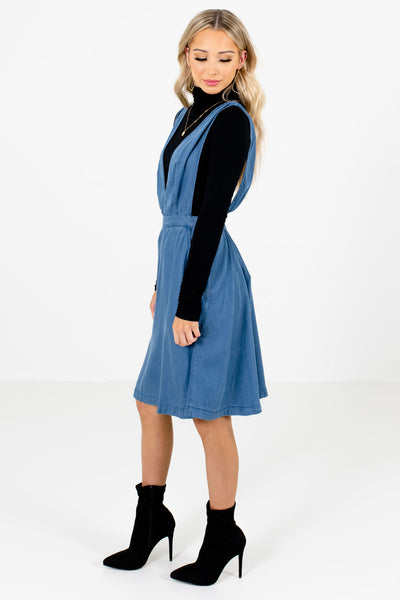 Blue Boutique Knee-Length Dresses with Pockets for Women