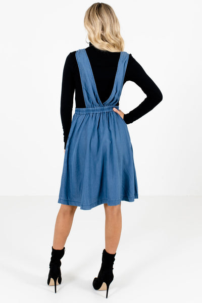 Women's Blue Back Elastic Waistband Boutique Knee-Length Dress