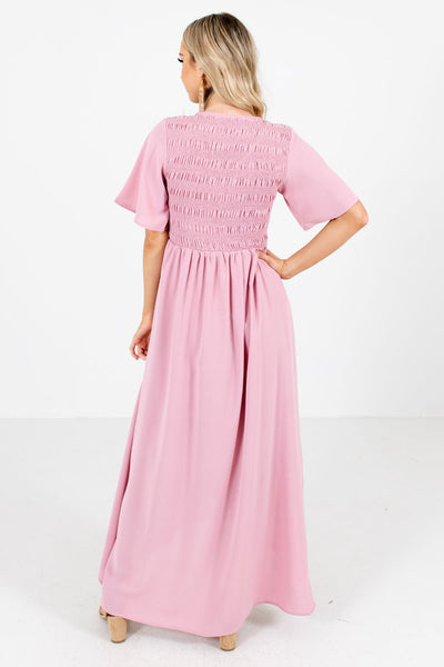 Women's Pink Faux Wrap Skirt Style Boutique Maxi Dress