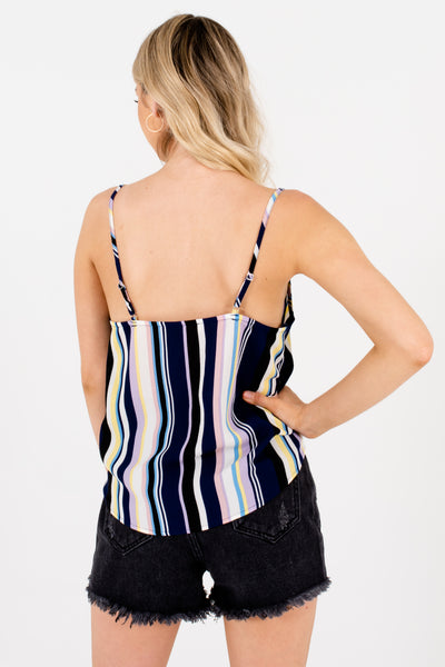 Navy Multicolor Striped Color Block Front Knot Tank Tops for Women