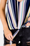 Navy Blue Multi Rainbow Striped Front Knot Tanks for Women