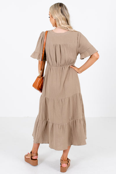 Women's Olive Boutique Midi Dresses with Pockets