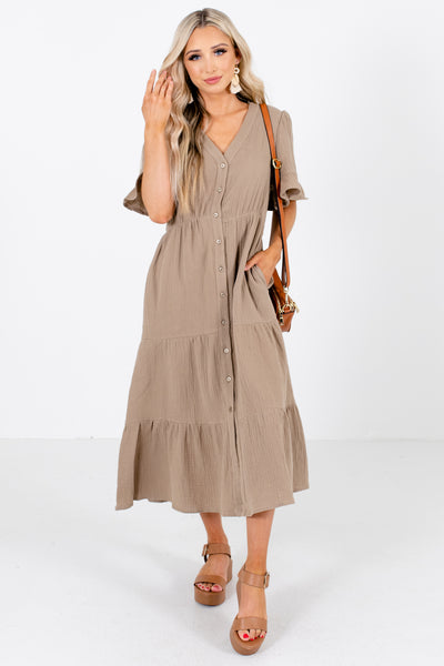 Olive Button-Up Front Boutique Midi Dresses for Women