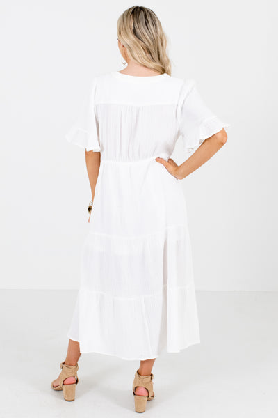 Women's White Ruffle Accented Boutique Midi Dress