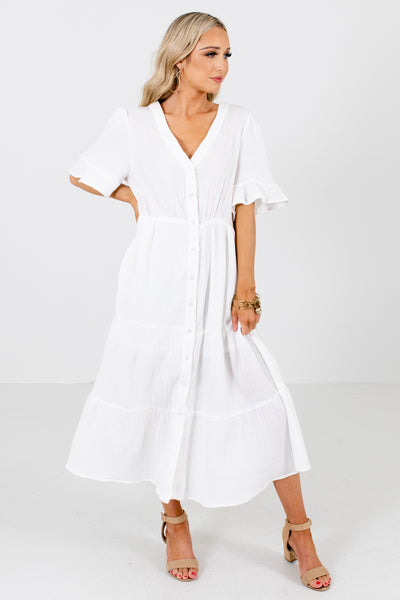 White V-Neckline Boutique Midi Dresses for Women