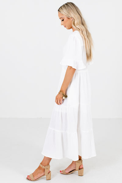 Women's White Button-Up Front Boutique Midi Dress