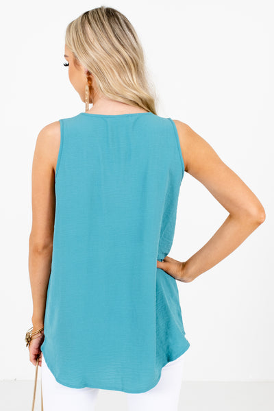 Women's Blue Split V-Neckline Boutique Tank Top