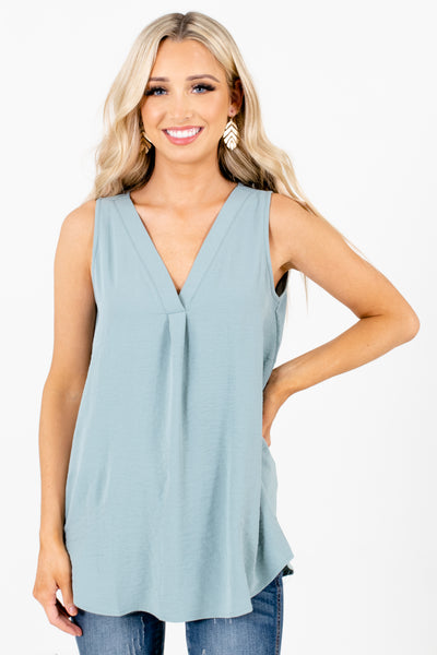 Green Layering Boutique Tank Tops for Women