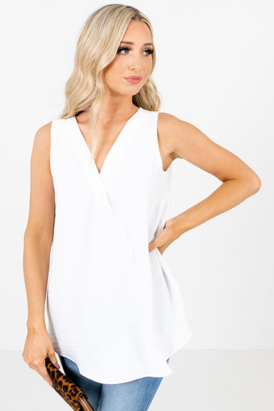 White Pleated Accent Boutique Tank Tops for Women