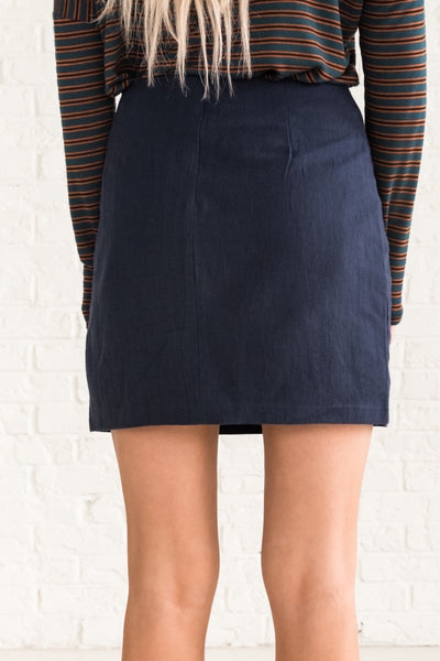 Navy Blue Boutique Short Skirts