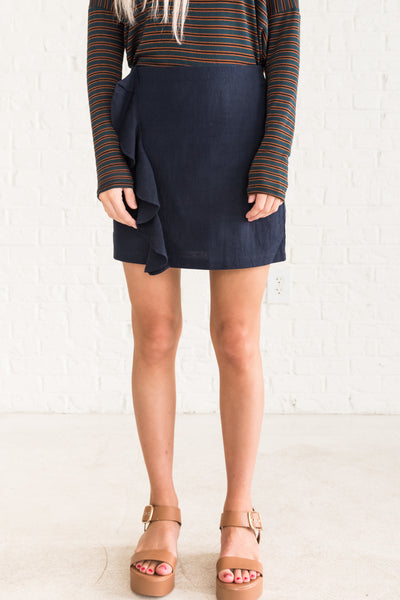 Navy Blue Ruffled Mini Skirts for Women