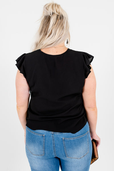 Black Plus Size Curvy Ruffle Sleeve Button-Up Neckline Blouses