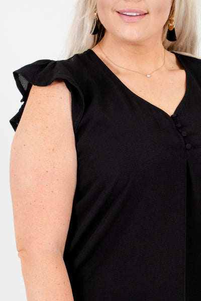 Black Plus Size Blouses with Button-Up Neckline and Ruffle Sleeves