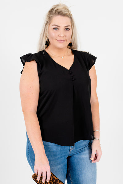Black Ruffle Sleeve Plus Size Blouses Affordable Online Boutique