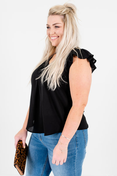 Black Plus Size Ruffle Sleeve Blouses Affordable Online Boutique