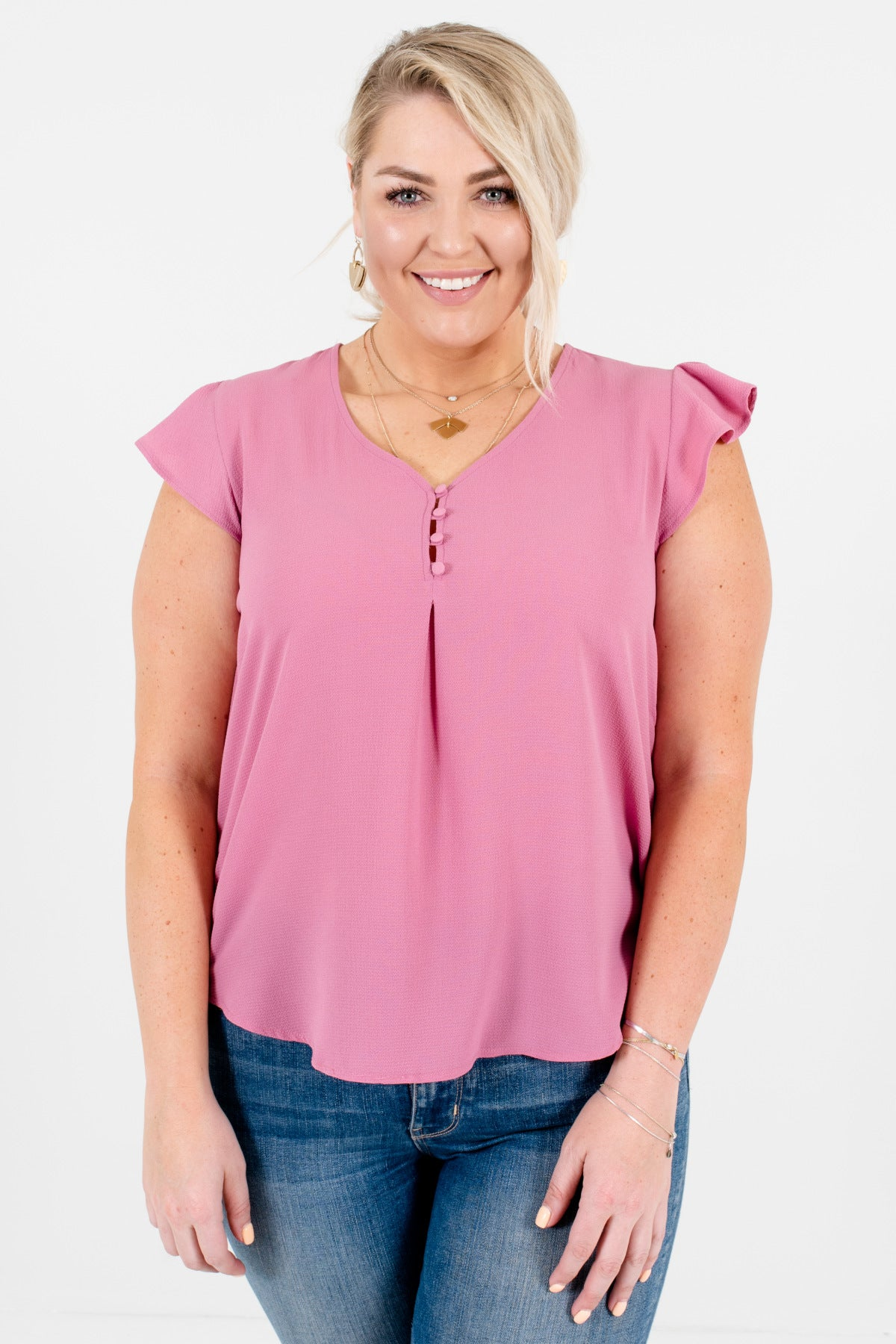 Pink Purple Plus Size Curvy Button-Up Bodice Ruffle Sleeve Blouses