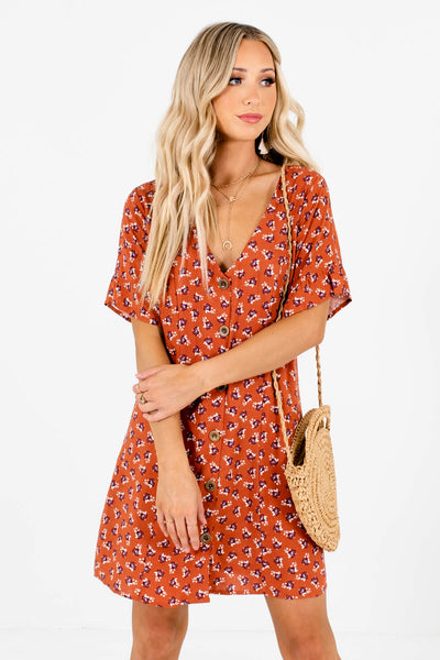 Women's Rust Orange V-Neckline Boutique Mini Dress