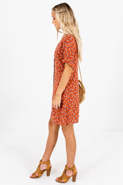 Rust Orange Ruffled Sleeve Boutique Mini Dresses for Women
