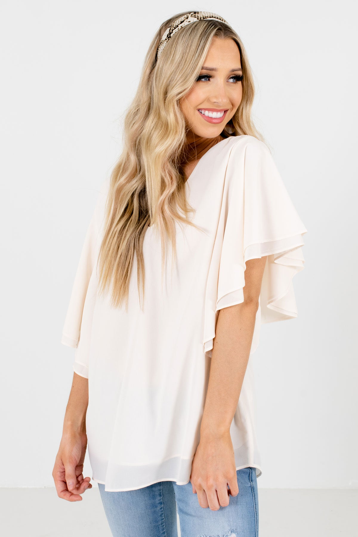 Cream Flutter Sleeve Boutique Blouses for Women