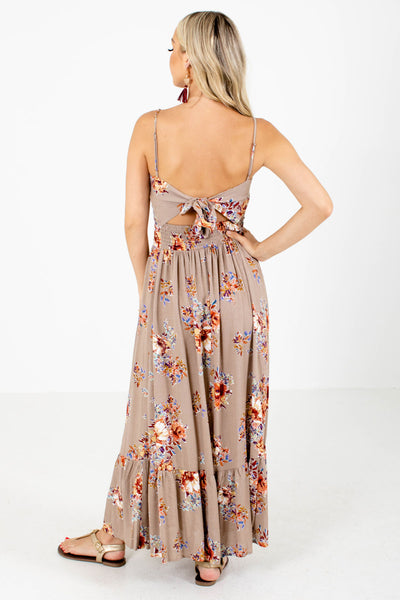 Women's Brown Open Back Boutique Maxi Dress