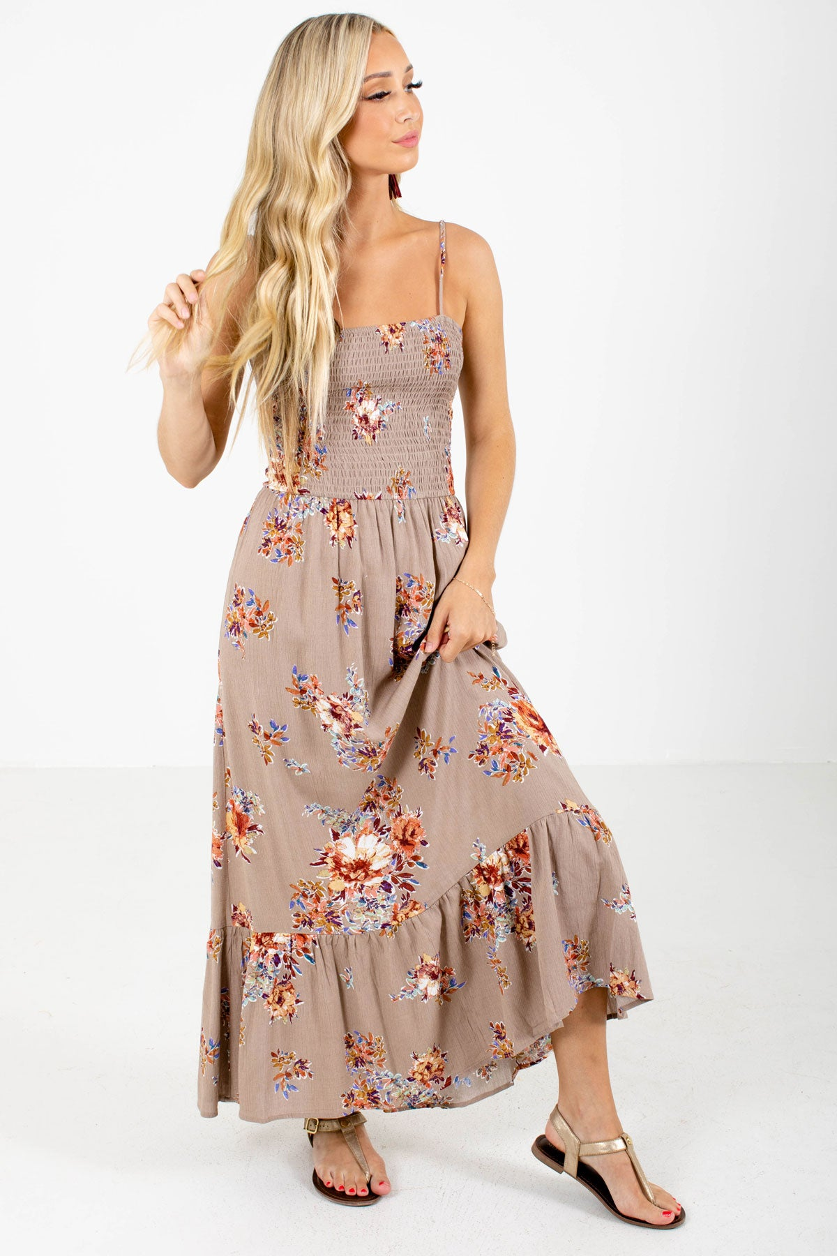 Brown Multicolored Floral Patterned Boutique Maxi Dresses for Women