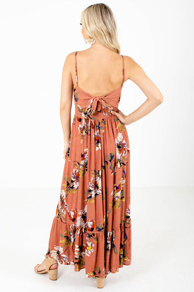 Women's Rust Ruffle Accented Boutique Maxi Dress