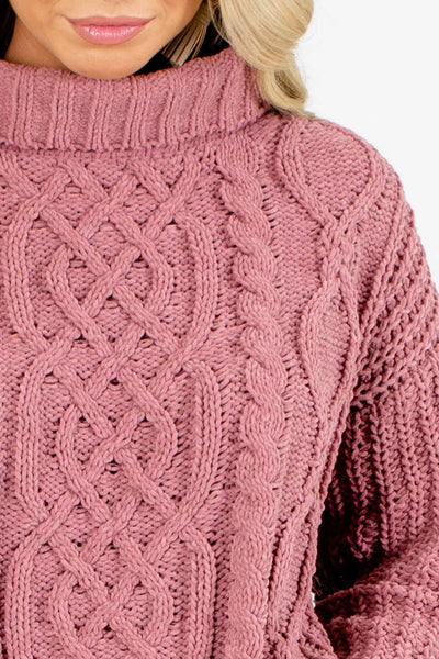 Women's Pink Cable Knit Boutique Sweater