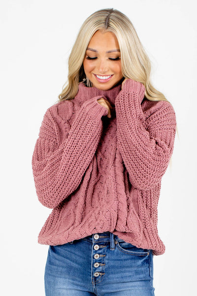 Pink Turtleneck Style Boutique Sweaters for Women