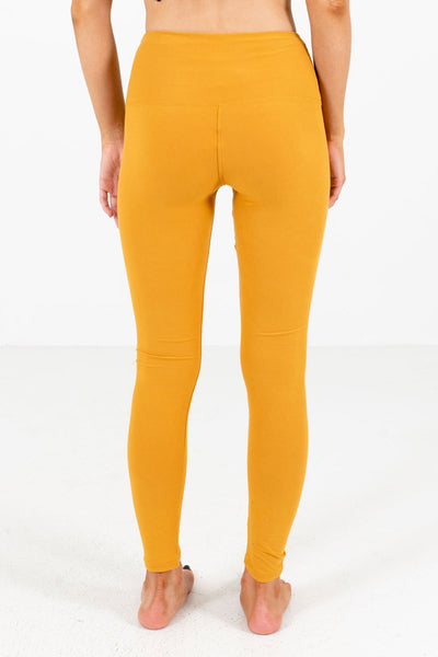 Mustard Yellow Cute Comfy Soft Stretchy Boutique Best Leggings for Women